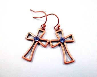 Cross Earrings, Periwinkle Blue Glass Rhinestones, Copper Dangle Earrings, FREE Shipping U.S.