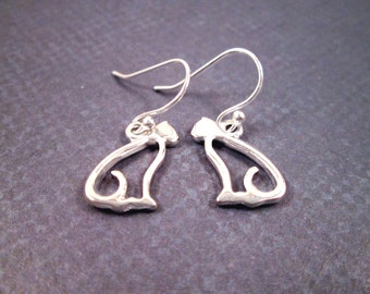 Silver Cat Earrings, On Little Cat Feet, Stainless Steel and Rhodium Dangle Earrings, FREE Shipping U.S.
