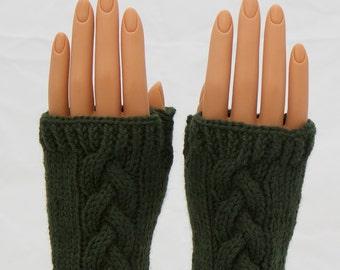 Evergreen Wool Arm Warmer Fingerless Mitts or Gloves