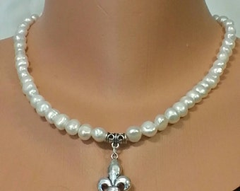 Genuine Natural Freshwater Pearl Necklace and Fleur-de-lis Pendant and Cross