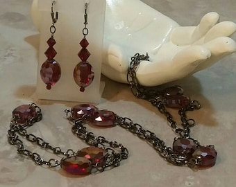 Garnet and Gunmetal Necklace and Earrings