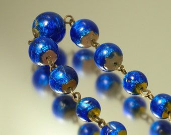 Vintage/ antique/ estate Art Deco 1930s royal blue, foiled glass bead costume necklace - jewelry / jewellery