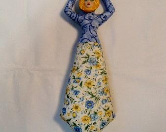 12 in. Blue yellow ivory Goddess cloth art doll form w/face cab You finish her Bead Decorate Wall decor fantasy