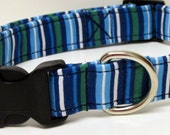 Multi Blue Stripe Classic Handmade Dog Collar