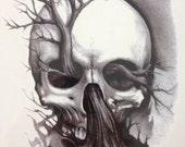 Black and white tree skull  temporary tattoo