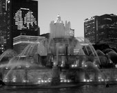 Chicago Blackhawks, Buckingham Fountain, 8x12, black and white, fine art print, man cave, gift for dads