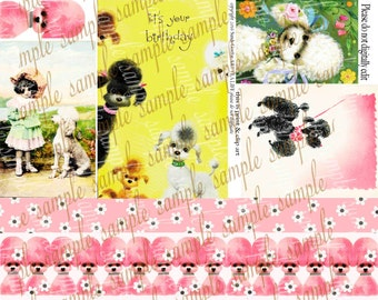 ART TEA LIFE Poodles Collage Sheet Digital File Journal Scrapbook Decoupage atc invitation birthday border strip pink card tag vintage