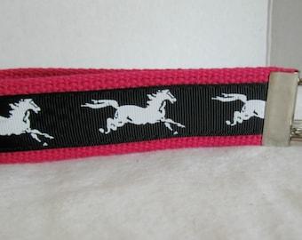 Horse Key Fob -  Horses Key Chain - Mustang Keychain - Stallion Key Fob - Equestrian Key Chain - Horse Lover Gift - PINK