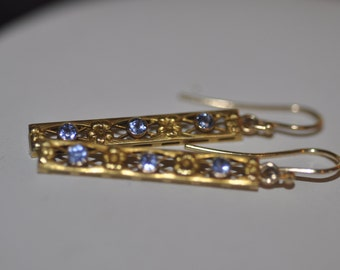 Yellow Gold Vintage Blue Sapphire Floral Earrings