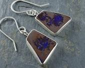 Boulder Opal Cabochon Earrings. Opal Gemstone Earring. October Birthstone Jewelry. Australian Opal Gemstone.