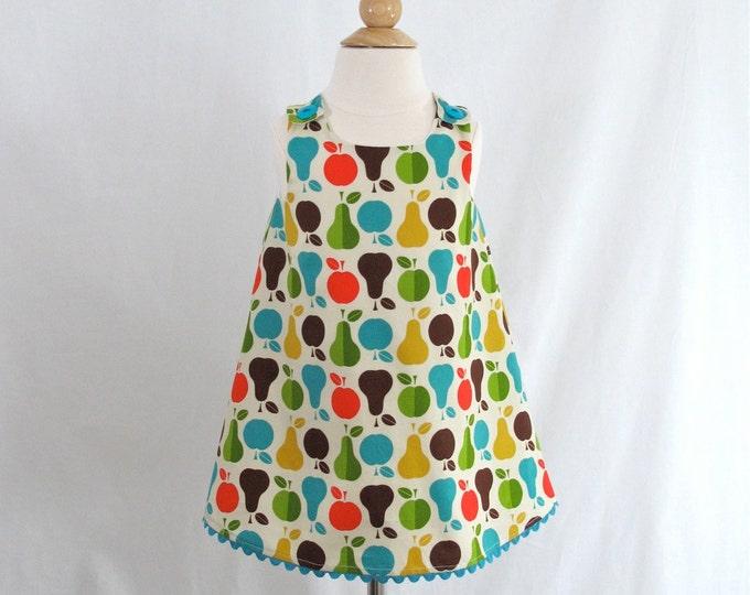 Girls' Apple & Pears Baby Dress, Toddler Dress,  Girls' Dress, Girls' Clothing, Apple Orchard Dress, Sizes Newborn to Girls 6