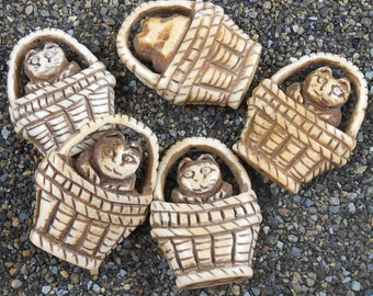 5 Cat in a Basket Beads ~ Carved Bone Pendant ~ Natural Color Large 1.3 inches ~ Five (5) Beads ~ Craft Supply
