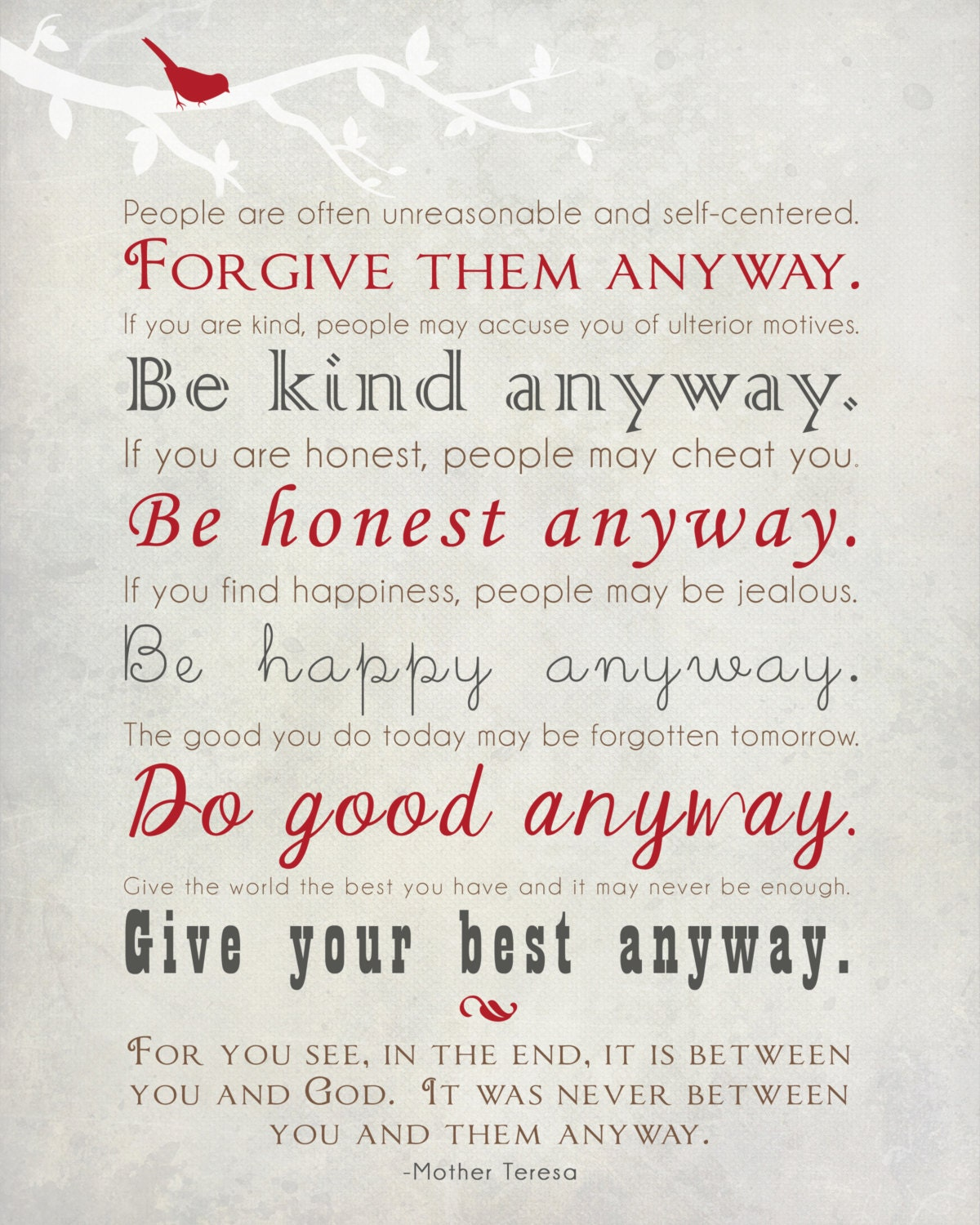 Mother Teresa Quotes Love Them Anyway Mother Teresa Quote Wall Art Print  Forgive Them Anyway  Be Kind