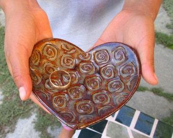 Ceramic Heart Bowl Ring Holder Catch All - Amber