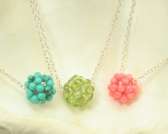 Stone ball with silver chain necklace