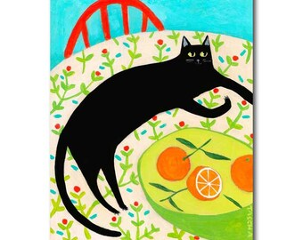 Black Cat painting ORIGINAL black cat folk art cat on table with ORANGES portrait still life painting by artist TASCHA