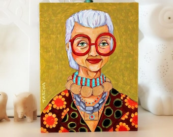 ORIGINAL acrylic portrait painting of IRIS APFEL fashion icon by artist Tascha