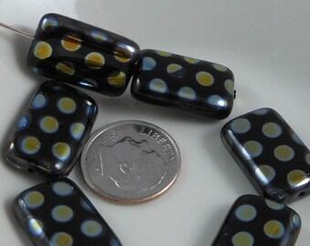 2 pcs Czech Glass Beads Large Flat Rectangle Black With Vitrex Dot 19x12mm SRB-CP19x12-BV