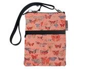 Crossbody Travel Purse also fits many tablets Kindle Fire /Nook Bag / iPad mini / FAST SHIPPING / - Butterfly Kisses Fabric