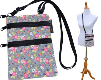 Crossbody Purse - 3 Zippered Pockets Bag - Small Cross body zippered pocket Purse Bag -Washable - Small Cell Phone Purse Urban Garden Fabric