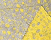Japanese Fabric reversible double knit - mushrooms - yellow, grey