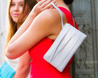 Pleated Wedding Clutch - Bridesmaids Gift Idea - Prom Wristlet - Silver, Black, Coral, and More Colors