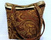 Large Shoulder Bag - Woven Chenille Brocade Paisley Fabric Bag - Large Handmade Purse - Handmade Gift for Her - Large Carry All - Ladies Bag