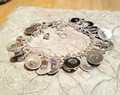 Kitty Cat silver handstamped  gypsy charm bracelet and it's adjustable too!