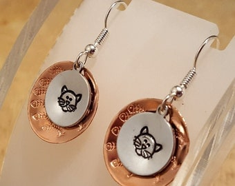 Kitty Cat hand stamped mixed metal textured layered french hook earrings