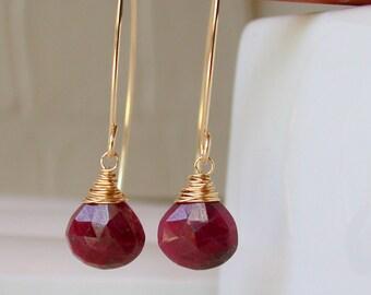 Curving Ruby Drop Earrings. July Birthstone. Threader Earrings. Open Hoop Earrings. Mod Hoops. Modern Open Hoops.