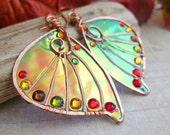 Sihaya Designs Faery Wing Earrings - Tam Lin in Autumn Hues - Iridescent Fairy Wing Jewelry