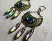 Nocturnal Enchantment - Antique Brass and Iridescent Crystal Chandelier Earrings
