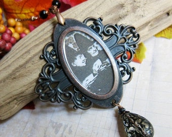 Sale - A Witches' Tea Party - Medallion Necklace with Vintage Lucite in Antique Copper