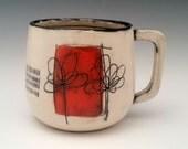 Handmade Ceramic Mug Large Mug Porcelain Mug Floral Pattern Pottery Cup