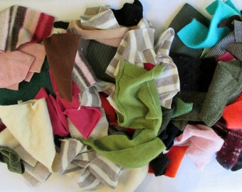 Sweater scraps - upcycle recycle - supplies - fabric - crafts - doll making - rug making - wool - cotton - cashmere - 4