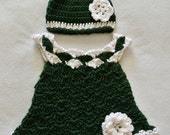 Newborn Baby Girl Soft Flower Dress and Flower Hat, Green and White, Handmade Shell Stitch Crochet, Acrylic, Infant