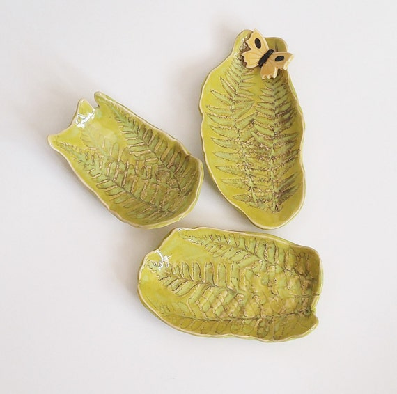 Ceramic Dishes - Ceramic Fern Dishes - Set of 3 - Stoneware Dish - Handmade Pottery - Ceramic Leaf Dish - Ceramic Soap Dish - Ring Dish