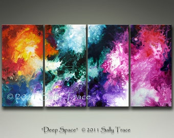 Multi Panel Art - Fine Art Giclee Canvas Prints - Large Canvas Multi Panel Wall Art - from my Large Abstract Fluid Painting