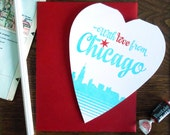 with love from chicago, illinois heart shaped greeting card everyday miss you love you