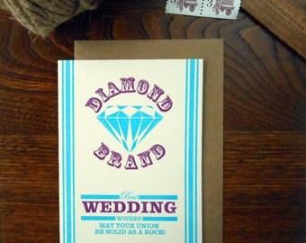 letterpress wedding potato sack feed sack inspired greeting card diamond best wishes