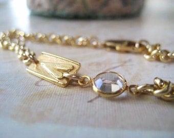 Gold Charm Bracelet, 14k Gold Filled, Artisan Heart, Charm, 14k gold Vermeil, Rolo Chain, Vintage Crystal, Rustic Charm, candies64