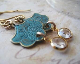Lotus Floral Earring, Verdigris Brass, Aqua Patina, Vintage Crystals, Aqua Blue Charms, Lotus Flower, Scallop Edge, Brass Charms, candies64