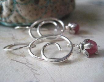 Sapphire Earrings, Sterling Silver, Swirl Earrings, Pink Sapphire, Flower Beadscaps, Sapphire Gemstone, Genuine Sapphire, candies64