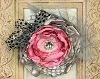 Flower Hair Clip, Pink Flower, Large Flower, Handmade Hair Flower, Grey, Tulle, Ribbon, Rhinestone, Polka dot, Little Girl Hair Accessories