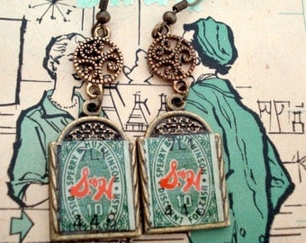Do You Remember Trading Stamps? S & H Green Stamps and TV Top Value Stamps, Double Sided Earrings
