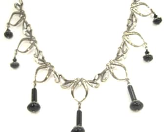 Onyx Dangles  ... Silver ... Victorian Gemstone One of a Kind Necklace