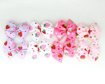 A Pairs of Mini Strawberry Hair Bows with Alligator  Clips