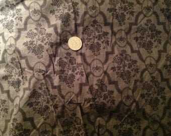 Black and gray cotton Halloween wallpaper print spider flower fabric 3 yards