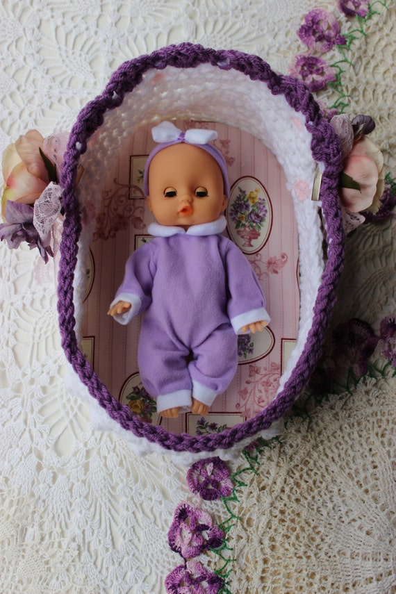 Knitting Pattern For Dolls Moses Basket : Crochet Moses Basket 8 - 12 inch doll - Embellishment ...