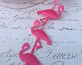 "Pink Flamingo Shaped Satin Ribbon Trim, approx 3/4"" wide"